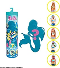 With 7 surprises in 1 package, the Barbie Color Reveal dolls deliver all kinds of delight -kids will love diving into the mermaid series! Start the experience by removing the outer layer of packaging, unscrewing the top of the tube and pulling out a ...