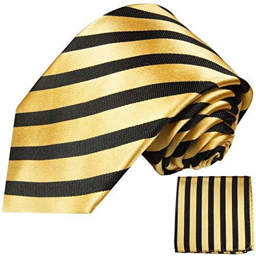 Cravate homme or noir rayures ensemble de cravate 2 Pièces (100% Soie Cravate + Mouchoir)