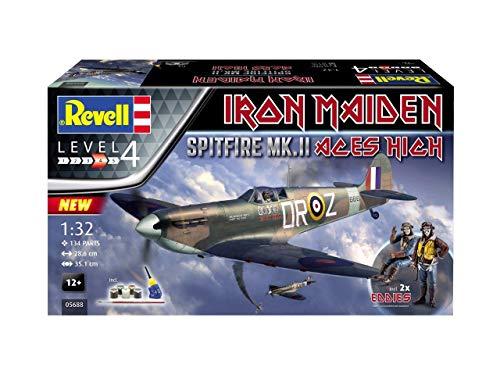 Revell 05688 Iron Maiden Fan-Edition, Spitfire Mk.II Aces High zum Selberbauen, Flugzeugmodellbausatz 1:32, 28,6 cm originalgetreuer Modellbausatz, Starter Set mit Basis-Zubehör, unlackiert, 1/32