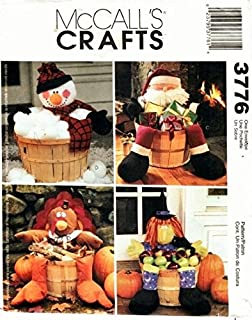 McCall's 3776 Craft Patterns. Decorated Holiday Baskets: Snowman, Turkey, Santa, & Witch