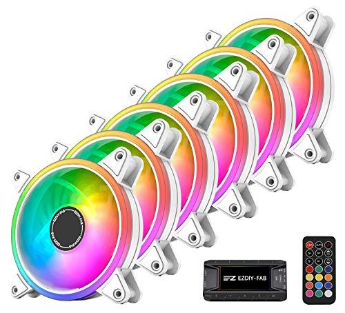 EZDIY-FAB Moonlight - Ventilador de 120 mm RGB con 10 puertos Fan Hub X y mando a distancia, placa base Aura Sync, control de la velocidad, ventilador orientable para PC Case-Blanco 6 Pack