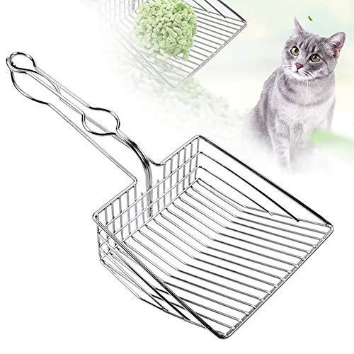 Cat Litter Scoop, Durable Metal Pet Kitty Kitten Sifter Heavy Duty with Long Handle Pet Kitty Dog Pooper Scooper, Easily Clean Litter Box