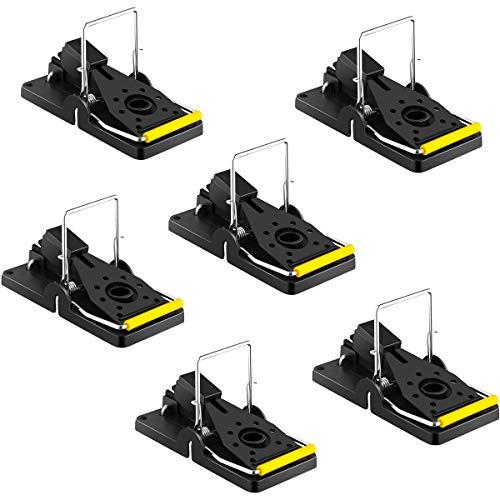 KASQA Mausefalle Profi Mäusefänger Schlagfalle Ratte Schnappfalle Wiederverwendbar Mouse Trap Geeignet für drinnen und draußen Gärten 6er Set (schwarz)