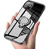 iPhone 11 Pro Max ケース リング クリア透明 磁気カーマウントホルダー スタンド メッキ柔らかい殻 滑り防止 耐衝撃カ 黄変防止 薄くて軽い TPU 全面保護 超耐久 簡潔なファッション 高級なカーボン風 スクラッチ防止