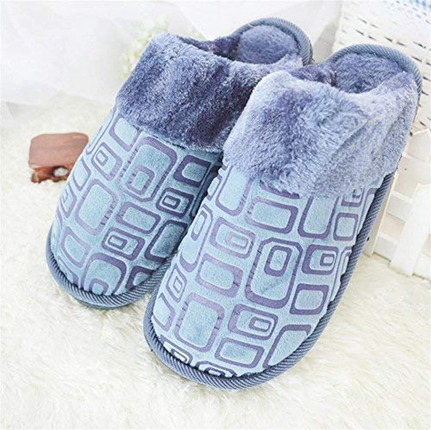 GouuoHi Men Slipper Men 's Home Cotton Slippers bluee Brown shoes Indoor Keep Warm Casual Slippers Soild color Personality Quality for Men