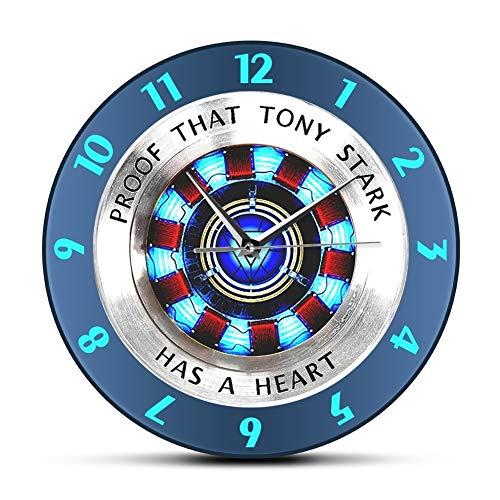 Diseño de Moda Prueba sin Marco Reloj Que Tony Stark Tiene un corazón del Arco Reactor Reloj de Pared Moderno de la Pared de Colgante Superhero Mira la Película Reloj Decoración Pared del Arte