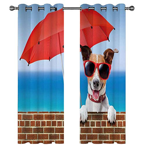 QHDIK Printed Blackout Curtains For Children Red umbrella, dog Eyelet Curtain Thermal Insulated Room Darkening Curtains for Children Bedroom Nursery Living Room Set of 2 Panels 46 x 72 inch