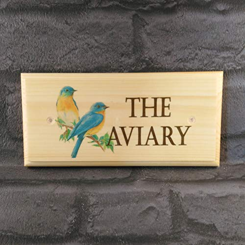 The Aviary - Plaque/Sign / Gift - Bird House Grandad Garden Pets Nanny Birds Cage Enclosure Shed