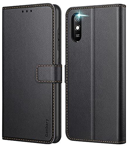 Ganbary Handyhülle für Xiaomi Redmi 9A Hülle, Premium Leder Tasche Flipcase [Kartenschlitzen] [Magnetverschluss] [Standfunktion] kompatibel mit Redmi 9A Schutzhülle, Schwarz