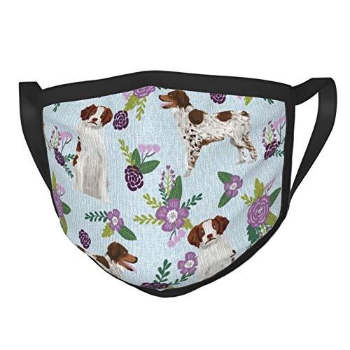Bretagne Spaniel Haustier Hund Kinderzimmer Koordinate Floral Tuch Gesichtsmaske waschbar 3D Druck verstellbar wiederverwendbar waschbar Bandana für Männer Frauen