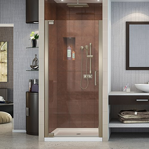 DreamLine Elegance 30 1/2 - 32 1/2 in. W x 72 in. H Frameless Pivot Shower Door in Brushed Nickel, SHDR-4130720-04