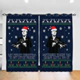 Customized Blackout Window Curtains Merry Christmas Little Friend Scarface Christmas Knit Grommet Thermal Insulated Room Darkening Drape for Bedroom Living Room 52 X 72 Inch, 2 Panels