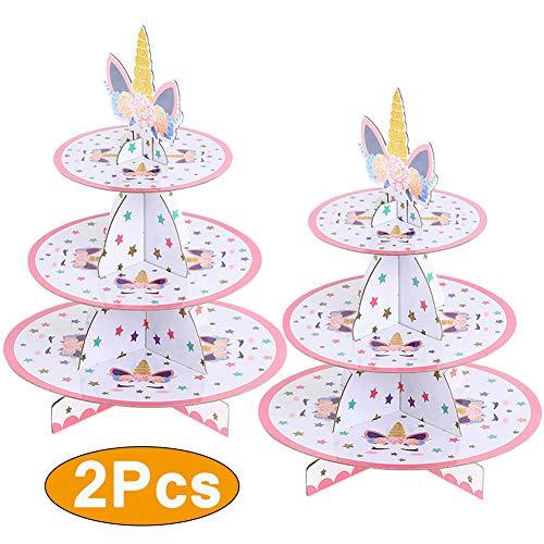 2 Unidades Soporte de Magdalenas de Cartón Unicornio de 3 Niveles, Postre Soporte para Cupcakes Redondo para Cumpleaños, Fiesta, Baby Showers