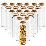 BELLE VOUS Bote Cristal Tapon Corcho (36 Piezas) -Mini Botellas de Cristal Altas 50ml para Manualidades - Mini tarros para Bodas - Bote Pequeño Cristal, Fiesta, Almacenaje, Mensaje, Decoración