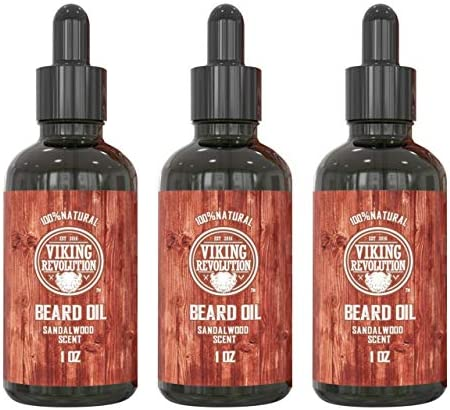 Beard Oil Conditioner All Natural Sandalwood Scent with Organic Argan Jojoba Oils Softens Strengthens product image