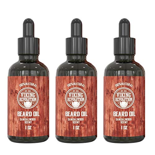 Beard Oil Conditioner - All Natural Sandalwood Scent with Organic Argan & Jojoba Oils - Softens & Strengthens Beards and Mustaches for Men (Sandalwood, 3 Pack)