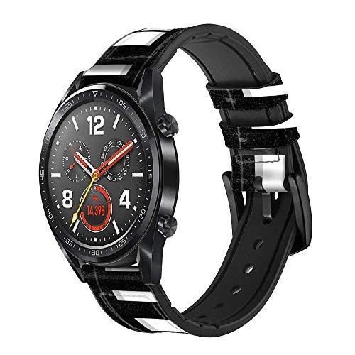 Innovedesire Black and White Piano Keyboard Smart Watch Armband aus Leder und Silikon für Wristwatch Smartwatch Smart Watch Größe (20mm)