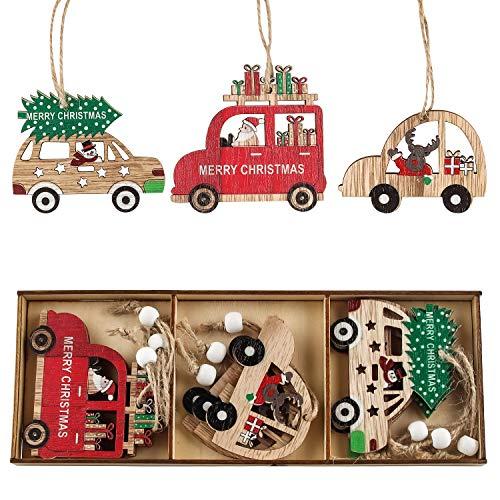 Decorazioni Albero di Natale in Legno, Albero di Natale Ornamenti Legno, Natale Ciondolo in Legno, Trucioli di Legno Decorativi da Appendere Colorati per la Casa, Albero di Natale e Addobbi per Feste