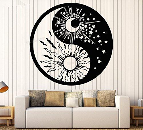 stickers muraux geant dragon ball z Symbole Yin Yang Soleil Lune Bouddhisme Etoiles Jour Nuit pour salon