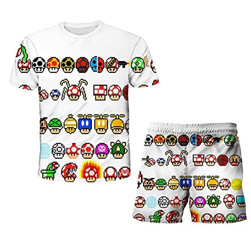 Nuevo Mario Camiseta y Pantalón para Niños Encantadora Camiseta para Niñas Disfraz de Verano para Niños Camisetas con Cuello Redondo Traje