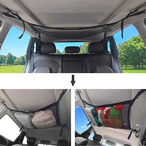 JIAHG Auto Gepäcknetz Mesh Aufbewahrungstasche, Universal Autodach Aufbewahrungstasche, Netztasche mit Reißverschluss, Einstellbar Kleinigkeiten Frachtnetz Tasche