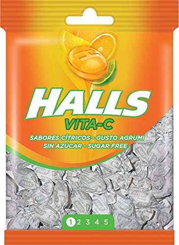 Halls, Sabores Cítricos, Snoep zonder suiker, Met vitamine C, 100 g