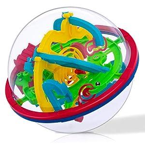 iNeego 3D Kugellabyrinth Kugelspiel, Magic Maze Kugel-Labyrinth Puzzle Ball mit 100 herausfordernde Barrieren Brain Tester Trainings Spielzeug Familienspiel Geschicklichkeitsspiel Geschenk für Kinder