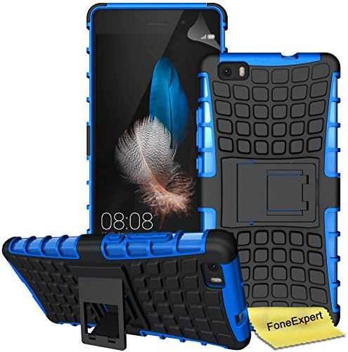 Foneexpert Huawei P8 Lite Case, Heavy Duty Rugged Impact Armor Hybrid Kickstand Protective Cover Case for Huawei P8 Lite + Screen Protector & Cloth (Blue)