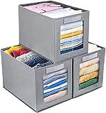 DIMJ Cajas de almacenaje Plegable, Conjunto de 3 Cajas Organizadoras Tela, Cubos...