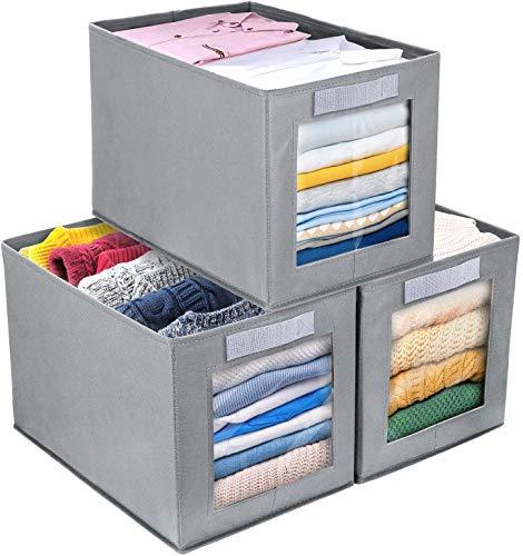 DIMJ 3 Stück Aufbewahrungsboxen, Faltbox mit Transparentem Sichtfenster Faltbare Aufbewahrungskiste mit Schlaufe für Kleiderschrank, Kleidung, Bücher, Kosmetik, Spielzeug (Grau silber)