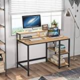 Tribesigns Escritorio para computadora Escritorio Industrial para Estudio, Estaciones de Trabajo para computadora Mesa de Escritorio para PC con Marco de Metal, 2 estantes