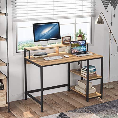 Tribesigns Computertisch Industrieller Schreibtisch für das Studium, Computerarbeitsplätze PC-Schreibtisch mit Metallrahmen, 2 Regale für Zuhause, Büro, Wohnzimmer, Schlafzimmer