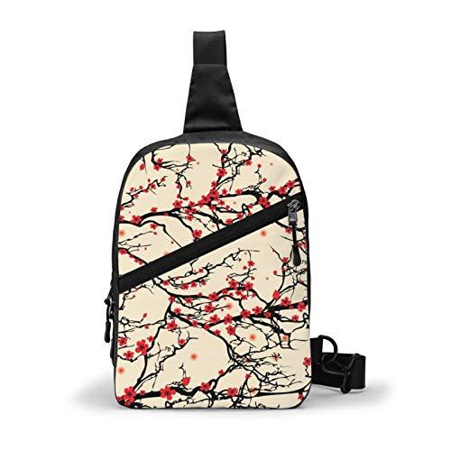 Oriental Japanese Sakura Plum Blossom Chest Bag Crossbody Sling Backpack Outdoor Travel Hiking Shoulder Bag Daypack Backpack for Men Women