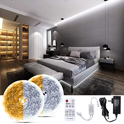 Bewahly Warmweiss LED Strip 20M, LED Streifen Dimmbar 3000K Warmweiß & 6000K Kaltweiß, LED Lichtband mit RF Fernbedienung, Weiß LED Band Leiste für Innenbeleuchtung, Küche, Schrank, wohnzimmer, Decke