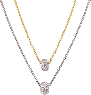 Bevilles Stainless Steel Two Tone Pave Crystal Ring Necklace