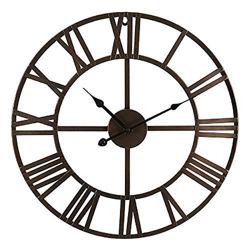 JulySeeYouz Römische Zahl Wanduhr, große Metall-Silent-Vintage-Wanduhr Non-Ticking Dekorative Skelett-Uhr für Wohnzimmer Schlafzimmer Cafe Hotel Büro,D