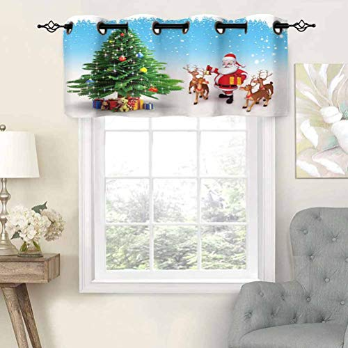 Short Curtains Valance Privacy Protection Reindeer with Jingle Bells Gather Around Father Christmas Festive Tree with Presents, Set of 1, 52'x18' Window Curtain Drapes for Bathroom Kitchen Living Room
