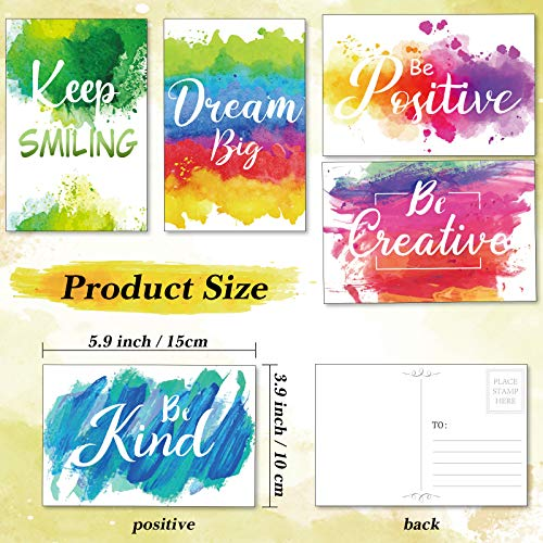 30 Pieces Inspirational Encouragement Greeting Postcards, Abstract Colorful Watercolor Paint Splash Motivational Greeting Cards Blank Note Cards for Office Classroom Teaching Supplies Photo #2