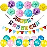 WONDERFORU Alles Gute zum Geburtstag Party Dekoration Banner Girlande mit 10 Pom Poms Papierblume, 30 Luftballons und 1 Regenbogenfarben Flaggen, Junge und Mädchen Geburtstag Party Dekoration