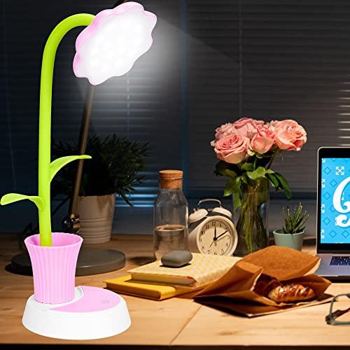 Lampara Escritorio LED, Flexo de Escritorio, Lámpara Escritorio con Panel Táctil, Lámparas de Mesa USB Regulable Recargable, Lámpara con Portalápices para Trabajo, Leer, Estudiar, Protege a ojos(Rosa)