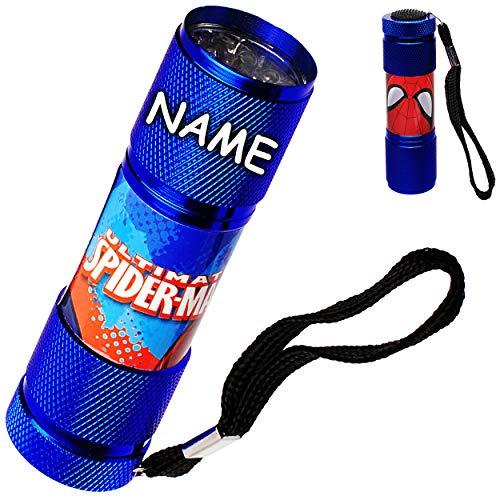 Preisvergleich Produktbild alles-meine.de GmbH Taschenlampe LED - Spider-Man - inkl. Name - aus Metall - Mini Lampe / Schlüsselanhänger - 9 Fach LEDlicht - Licht Auto Kindertaschenlampe für Jungen - Metall..