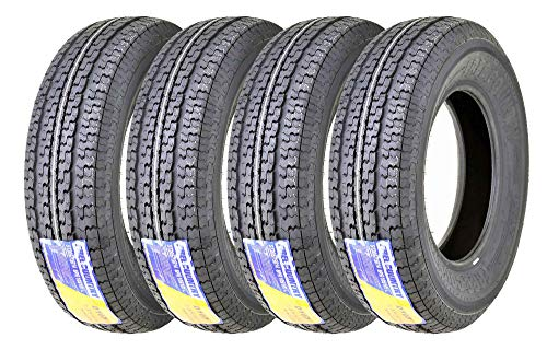 Set 4 FREE COUNTRY Premium Trailer Tires ST 205/75R14 8PR Load Range D Steel Belted Radial w/Feautred Scuff Guard