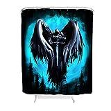 EUNNT Duschvorhänge, Ritter mit Flügeln, wasserdicht, lustige Badezimmer-Dekoration mit Standard-Größe, Polyester, weiß, 120x200cm