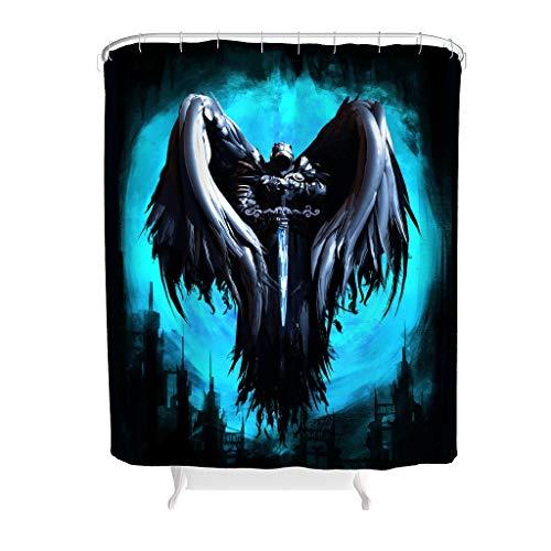 Charzee Duschvorhang Knight with Wing Printed Anti-Schimmel Wasserdichtes Design Vorhang Badewannenvorhang für Badezimmer White 120x200cm