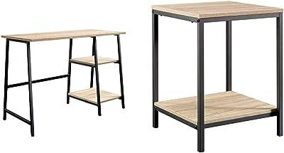 Sauder North Avenue Desk, Charter Oak Finish & North Avenue Side Table, Charter Oak Finish