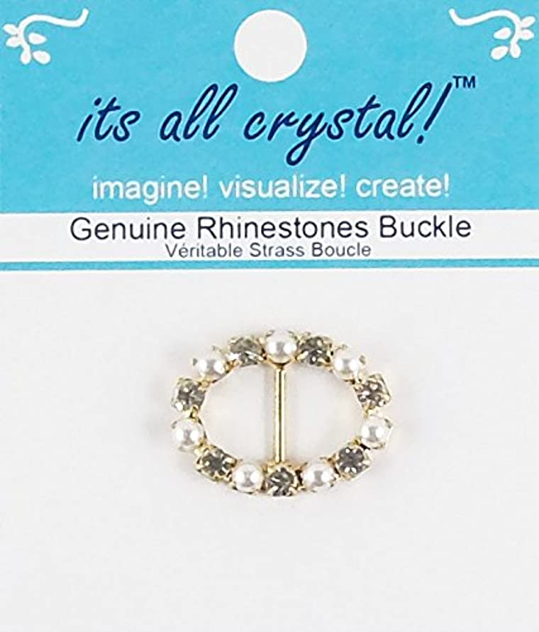 Rhinestones Buckle - Gold Finish Metal Buckle Slider - Genuine Crystals and Pearls in Oval Shape Setting for Wedding Invitation Letter Christmas Evening Wear Doll Outfit Dress - 1 pcs/pk - RSB3808