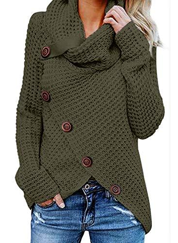GOSOPIN Damen Pullover lose Pullis Langarm Oberteil Rollkragen Outwear S-XXL, Gruen #6, L