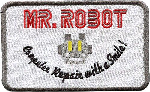Wardah Limited Mr. Parche Bordado para reparación de Robot con una Sonrisa, Coser o Planchar 10 cm x 6 cm
