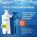 """Brita Standard UltraMax Water Filter Dispenser, Gray, Extra Large 18 Cup, 1 Count 17 The BPA-free UltraMax water dispenser holds 18 cups of water, enough to fill 6 24-ounce reusable water bottles Get great tasting water without the waste; by switching to Brita, you can save money and replace 1,800 single-use plastic water bottles a year This space efficient filtered water dispenser fits perfectly on refrigerator shelves, features an easy locking lid and precision pour spigot; Height 10.47""""; Width 5.67""""; Length/Depth 14.37""""; Weight 3 pounds"""