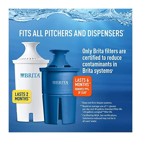 """Brita Standard UltraMax Water Filter Dispenser, Gray, Extra Large 18 Cup, 1 Count 7 The BPA-free UltraMax water dispenser holds 18 cups of water, enough to fill 6 24-ounce reusable water bottles Get great tasting water without the waste; by switching to Brita, you can save money and replace 1,800 single-use plastic water bottles a year This space efficient filtered water dispenser fits perfectly on refrigerator shelves, features an easy locking lid and precision pour spigot; Height 10.47""""; Width 5.67""""; Length/Depth 14.37""""; Weight 3 pounds"""
